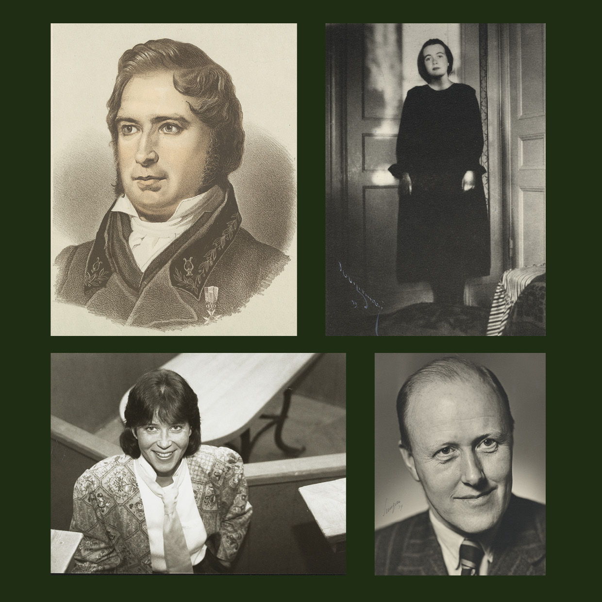 portraits of Geijer, Segerstedt, Johannisson and Karin Boye