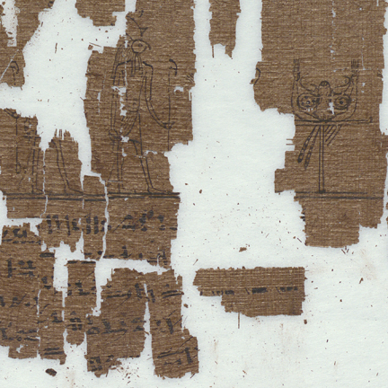 fragment of damaged papyrus manuscript with drawn Egyptian figures